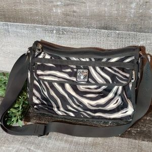 BRIGHTON zebra print nylon crossbody bag